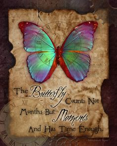 """THE BUTTERFLY counts MOMENTS steampunk art print, inspirational butterfly gift print, 8"""" x 10"""" x"""
