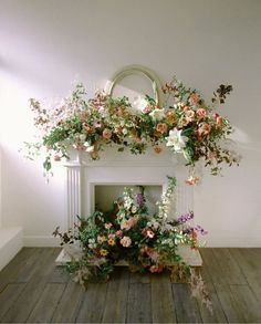 Beautiful mantlepiece floral installation with fresh Spring colours - For the Fireplace & Stairs - Blumenkranz Wedding Mantle, Wedding Fireplace, Altar Decorations, Flower Decorations, Wedding Decorations, Spring Wedding Flowers, Floral Wedding, Wedding Flower Arrangements, Floral Arrangements