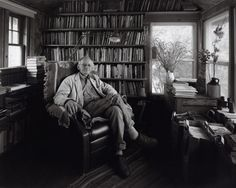 Ted Kooser in his writing shack out behind his house in Garland.  Beyond this room is a beautiful golden pond.