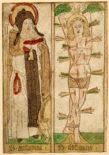 A935   Anonymous   St Anthony and St Sebastian   Woodcut with hand-coloring 1450-1500   27.2 x 18.8 cm   The British Museum   London, UK   Inv. nr. 1872,0608.341