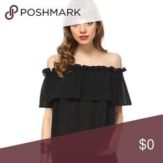 🆕 Zinnia Top Black top with ruffle trim design. This top is like having a two in one Top because it can be worn two ways: off both shoulders or just off one (see images above).   Measurements based on size S Length: 18.5in Chest: 19in Band stretches to about 29in (for size small) Model wearing size S Tops