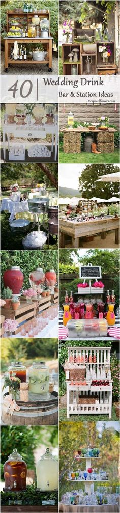 rustic wedding drink station decor ideas / http://www.deerpearlflowers.com/wedding-drink-bar-station-ideas/