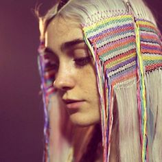 Hair tapestry   Try with thicker yarn/thread on locks, braids, or twists?