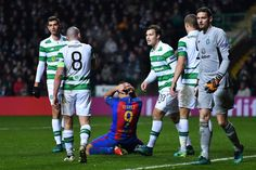 luis Suarez of Barcelona reacts during the UEFA Champions League Group C match between Celtic FC and FC Barcelona at Celtic Park Stadium on November 23, 2016 in Glasgow, Scotland.