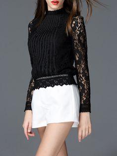 1e37c7f4ef79 Black Plain Cowl Neck Long sleeve Casual Pierced Lace Long Sleeve Top