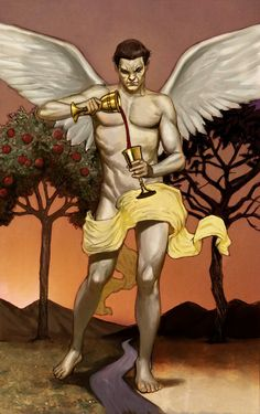 Angel Temperance Tarot Card: I really like the traditional tarot style and the wings/floating fabric in particular.