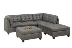 Poundex F844 6 pc Latitude run mckenny dark brown leather like fabric modular sectional sofa