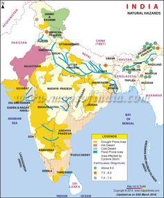 Natural Hazard Map of India showing the different natural calamity prone area in India. Many natural hazards are related to earthquake prone area, hot desert area, cold desert area, drought prone area, flood prone area and cyclone prone area of India. India World Map, India Map, Geography Map, Physical Geography, Cold Deserts, India Independence, India Travel Guide, India Facts