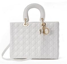 Large Lady Dior bag in white lambskin