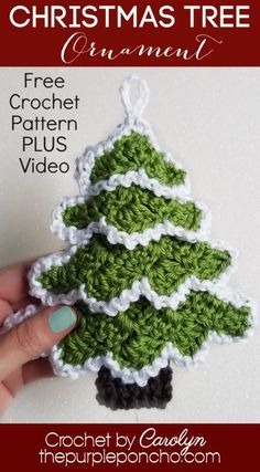 Easy Crochet Christmas Tree Ornament a Free Crochet Pattern on The Purple Poncho, Crochet by Carolyn Christmas Tree Ornament is a quick pattern to make in everyone's favorite corner-to-corner technique. It's easy, festive, and makes great gits! Crochet Christmas Decorations, Christmas Applique, Crochet Christmas Ornaments, Christmas Crochet Patterns, Holiday Crochet, Crochet Snowflakes, Crochet Gifts, Easy Crochet, Christmas Christmas