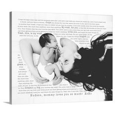 Great gift for new mom and dad. New Baby Nursery photo art. Put your favorite photo on canvas with your special words. Photos on children best friend, pets, spouse … you name it. Let Geezees design it with your favorite song, poem, letter or lullaby.