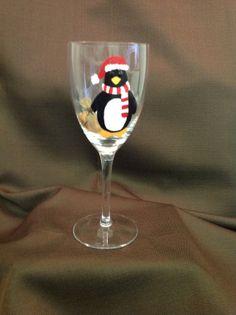 Penguin Santa Hand Painted Wine Glass