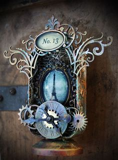Mystere Altoid Tin  Playing with metal, resin and texture.  Check us out at http://jackandcatcurio.com/.