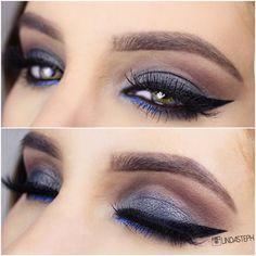 steel grey lid, brown crease, pop of blue (inner lower lashline), black winged liner @lindasteph #eyeliner #eye makeup