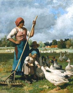 "Julien Dupré: ""Children Feeding Geese"", 1881, oil on canvas, Dimensions:	Height: 81.6 cm (32.13 in.), Width: 65 cm (25.59 in.), Museum of Fine Arts - Boston  (United States - Boston)."