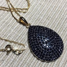 •black spinel & 18k gold• 3.82 ctw black spinel / 18k yellow gold over sterling silver Jewelry Necklaces