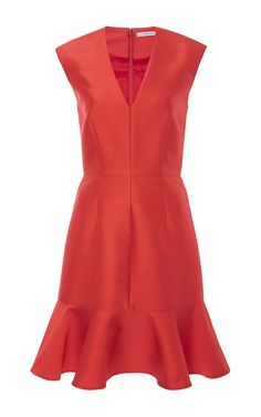 Silk Blend V Neck Dress With Ruffled Hem by CARVEN Now Available on Moda Operandi