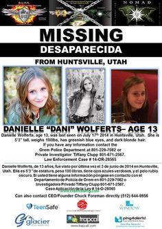 7/17/2014: Danielle Wolferts, age 13, is #missing from Huntsville, Utah.