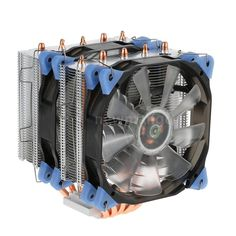 Heatpipe Radiator 4pin CPU Cooler Dual 12cm Fans With LED Light Generate
