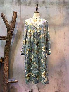 Empire-Waist Flower Print Dress Loose Cotton Beautiful Dress  #floral #flowers #beautiful #print #dress #linen #loose #garment #girl #cotton