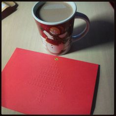 On instagram by maria_skamas  #braille #doitbraille (o)  http://ift.tt/1IlW3zd  Christmas Card: Braille style #christmas #card  #coffee #goodmorning #hohoho #merryxmas #wishes