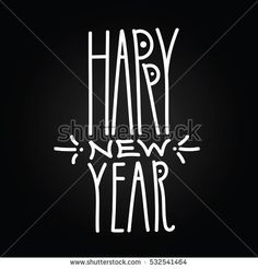 Happy New Year handdrawn white linear inscription on black background. Modern calligraphy sign. Label for your web business retail or greeting