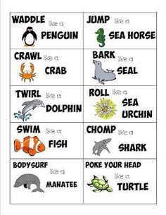 Under the ocean movement cards! Gross Motor Activities, Gross Motor Skills, Preschool Activities, Dementia Activities, Children Activities, Animal Action, Ocean Unit, Action Cards, Music And Movement