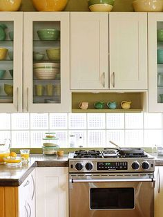 Glass blocks to let extra light into the kitchen