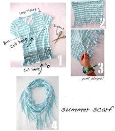 t-shirt, foulard, recyclage, été, diy, truc, tissus, frange