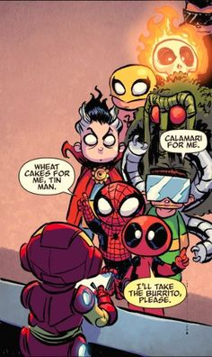 """wadewilson-parker: """"*squeal* lil' deadpool and spidey! Giant Size Little Marvel """" Deadpool Chibi, Chibi Marvel, Marvel Dc Comics, Marvel Heroes, Baby Marvel, Baby Avengers, Young Avengers, Doodle Characters, Marvel Characters"""