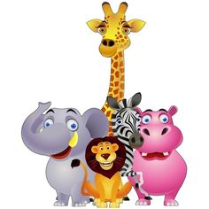 Giraffe Lion Zebra And Elephant Cartoon Clip Art Picture Party Animals, Cartoon Jungle Animals, Zoo Animals, Funny Animals, Cute Animals, Wild Animals, Art Mignon, Cute Reptiles, Clip Art Pictures