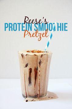 Healthy Reese's Pretzel Protein Smoothie