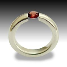 Gemstone ring - Sterling silver and rose cut garnet tension ring - Dream