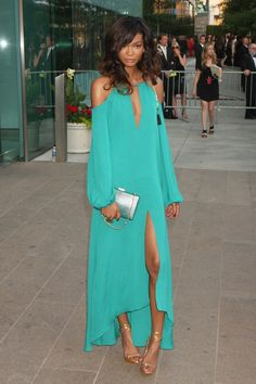 Chanel Iman wearing a BCBG Max Azria dress