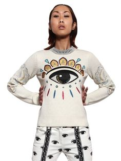 KENZO - EMBROIDERED EYE WOOL BLEND SWEATER - LUISAVIAROMA - LUXURY SHOPPING WORLDWIDE SHIPPING - FLORENCE