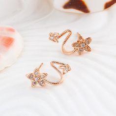 Rose Gold Double Sided Flower Stud Earrings