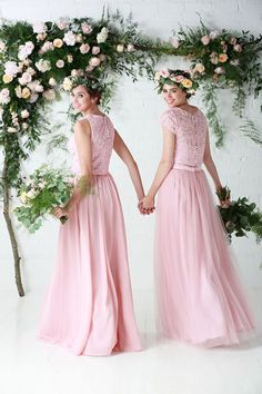 Bridesmaid separates, chiffon and tulle skirts both paired with lace toppers