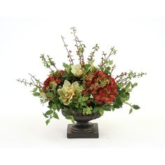 Great Price on Silk Hydrangeas, Orchids and Berries in a Rust Finish Compote Urn.Free Shipping.