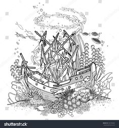 Ancient sunken ship and coral reef drawn in line art style. Ocean fish and plants  isolated on white background. Coloring book page design for adults and kids