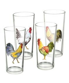 Grasslands Road Rooster Juice Glasses, Set of 8 Rooster Kitchen Decor, Rooster Decor, Arte Do Galo, Cozinha Shabby Chic, Chicken Kitchen, Doodle Doo, Chicken Art, Chickens And Roosters, Coq