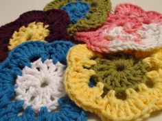 Colorful Flowered Coasters Pattern... Free