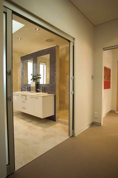 EZ Concept offers the SlideSet Flush Finish Pocket Door System with Head Jamb or Full Height Detail. Modern Baseboards, Door Trims, Pocket Doors, Sliding Doors, Mirror, Bathroom, Create, House, Furniture