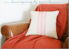 Remodelaholic | DIY Vintage Grain Sack No-Sew Pillow Cover; Monthly Contributor Project