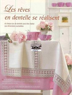 "Photo from album ""Elena Ouvrages Hors-serie Filet au crochet"" on Yandex. Filet Crochet, Crochet Borders, Crochet Stitches, Crochet Patterns, Crochet Books, Crochet Home, Love Crochet, Vintage Crochet, Knit Crochet"