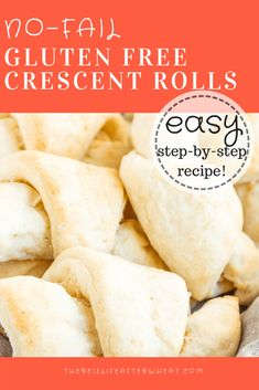 The BEST No-Fail Gluten Free Crescent Rolls - easy to make and ready in 1 hour!The BEST No-Fail Gluten Free Crescent Rolls - easy to make and ready in 1 hour! This gluten free roll recipe also comes with a dairy free option, and can be used in a Gluten Free Crescent Rolls, Gluten Free Rolls, Gluten Free Flour, Gluten Free Cooking, Gluten Free Dairy Free Bread Recipe, Gluten Free Breads, Easy Gluten Free Meals, Gluten Free Cinnamon Rolls, Lactose Free