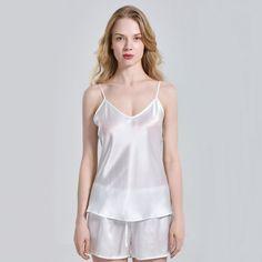 Womens Silk Camisole Top with Adjustable Straps Plus Size Silk Tank Top Camisole For Women – OOSilk Satin Pyjama Set, Satin Pajamas, Pyjamas, Satin Lingerie, Lingerie Dress, Silk Chemise, Silk Sleepwear, Satin Dresses, Pretty Outfits