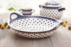 Large bowl with handles. I love this shape! Polish pottery