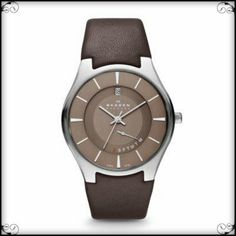 #SKAGEN BROWN LEATHER BAND - A mix of all the right elements takes this #menswatch from solely traditional to a well-designed must-have. The round, silver tone case is attached to a brown #GenuineLeather band. The brown dial features silver tone accents, date and day.  Available at http://watchrepublic.co.za.  R2499.00
