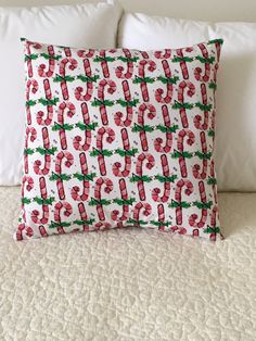 Candy Canes Pillow Cover  Christmas Pillow  by KathyRyanDesigns