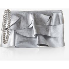 Express Tiered Ruffle Wristlet (€17) ❤ liked on Polyvore featuring bags, handbags, clutches, silver, cross-body handbag, chain handle handbag, silver handbags, silver crossbody purse and chain strap crossbody
